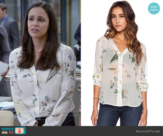 Joie Yvetta Blouse in Porcelain worn by Melissa Fumero on Brooklyn Nine-Nine