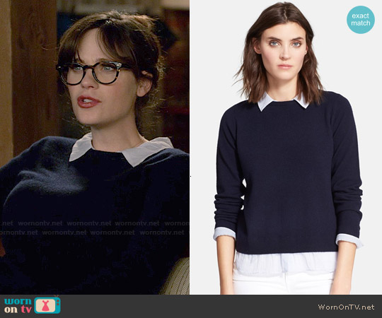 Joie Zhen A Wool & Cashmere Sweater worn by Zooey Deschanel on New Girl