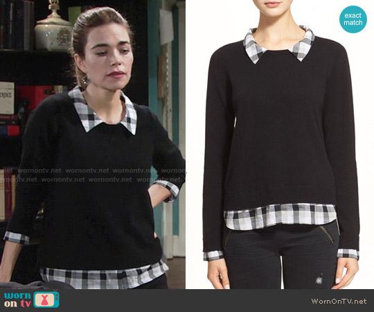 Joie Zhen Sweater in Caviar Combo worn by Amelia Heinle on The Young & the Restless