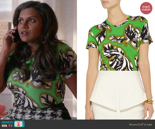 Jonathan Saunders Floral Top worn by Mindy Kaling on The Mindy Project