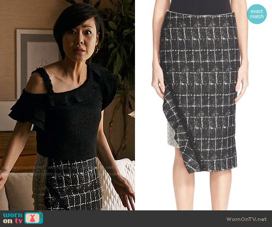 Jonathan Simkhai Asymmetrical Ruffle Pencil Skirt worn by Yunjin Kim on Mistresses
