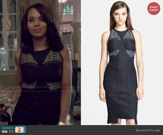 Jonathan Simkhai Bubble Jacquard Sheath Dress worn by Kerry Washington on Scandal