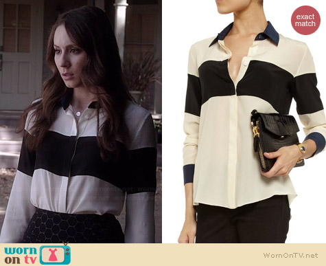 Jonathan Simkhai Striped Silk Crepe Blouse worn by Troian Bellisario on PLL