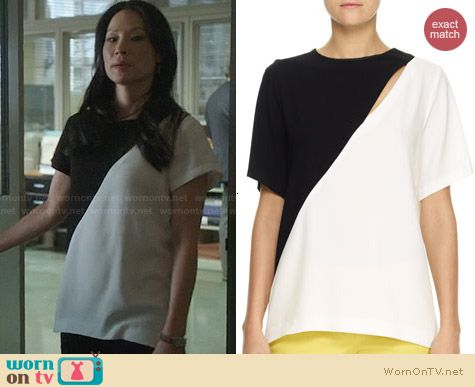 Joseph Marlin Bicolor Crepe Top worn by Lucy Liu on Elementary