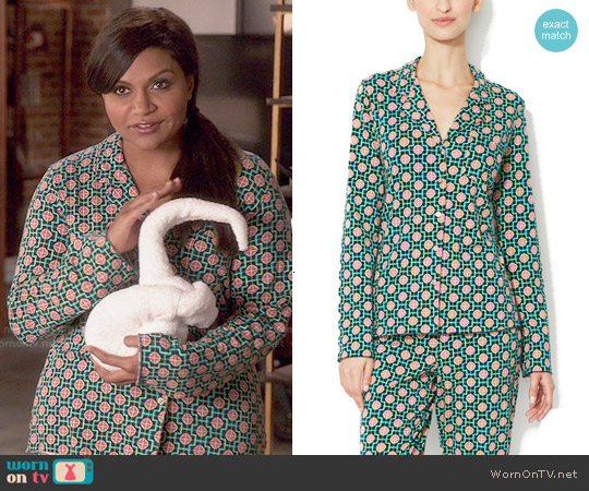 Josie Madame Foulard Pajamas worn by Mindy Kaling on The Mindy Project