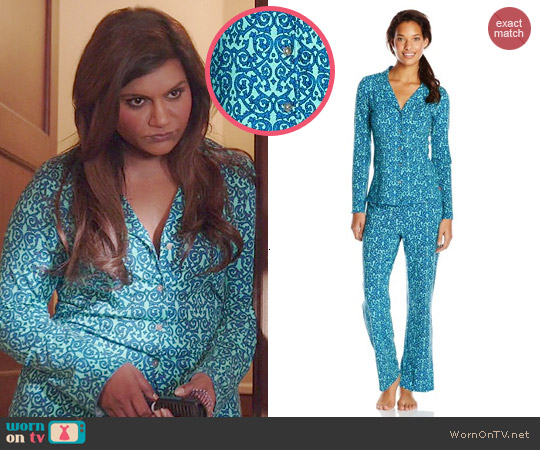 Josie by Natori Maya Pajamas in Blue/Multi worn by Mindy Kaling on The Mindy Project