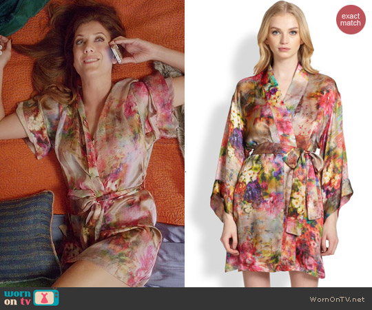 Josie Natori Whimsical Floral Robe worn by Kate Walsh on Bad Judge