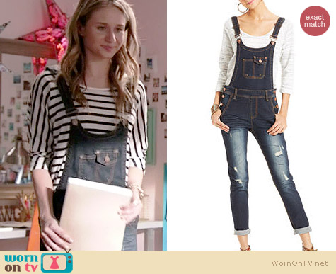 Jou Jou Distressed Denim Overalls worn by Rita Volk on Faking It