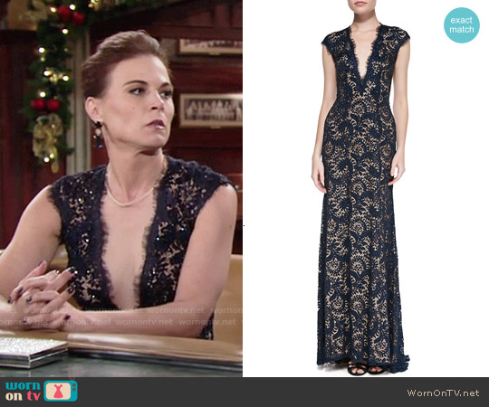 Jovani Plunge-Neck Beaded Lace Gown worn by Gina Tognoni on The Young & the Restless
