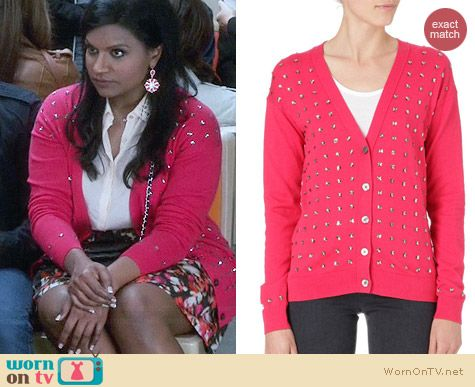 Juicy Couture Crystal Embellished Cardigan in Red worn by Mindy Kaling on The Mindy Project