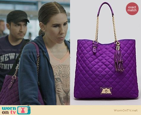 Juicy Couture Anja Quilted Tote in Purple worn by Zosia Mamet on Girls