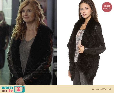 June Knit Fur Jacket with Leather Sleeves worn by Connie Britton on Nashville