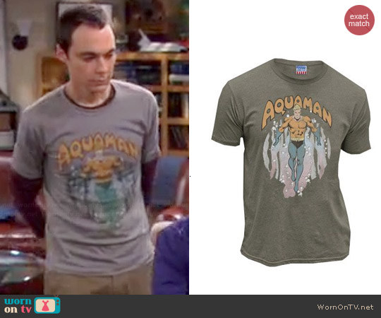 Junk Food Clothing Aquaman Rising Shirt worn by Sheldon Cooper on The Big Bang Theory  sc 1 st  WornOnTV.net & WornOnTV: Sheldonu0027s grey Aquaman shirt on The Big Bang Theory | Jim ...