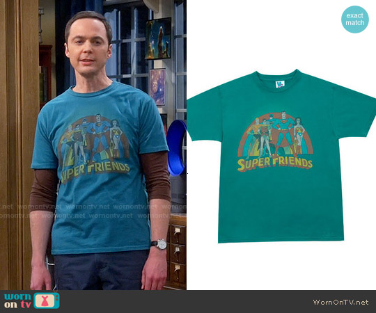 Junk Food Clothing Super Friends T-shirt worn by Jim Parsons on The Big Bang Theory
