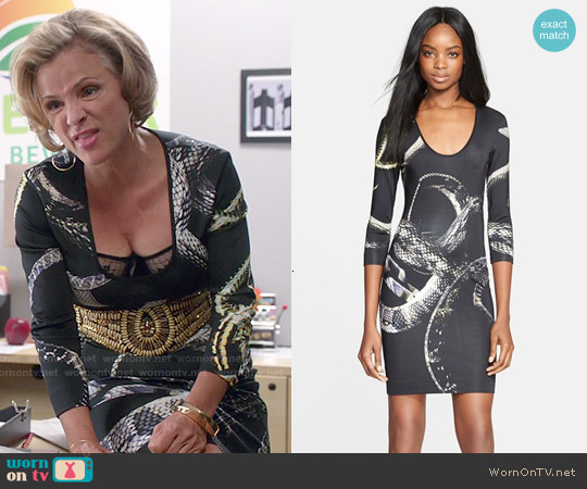 Just Cavalli 'Eve's Temptation' Snake Print Jersey Dress worn by Amy Sedaris on Kevin from Work