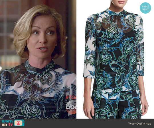 Just Cavalli Ikebana Print High Collar Blouse worn by Portia de Rossi on Scandal