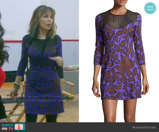 Just Cavalli Leaf-Print 3/4-Sleeve Shift Dress worn by Lauren Koslow on Days of our Lives
