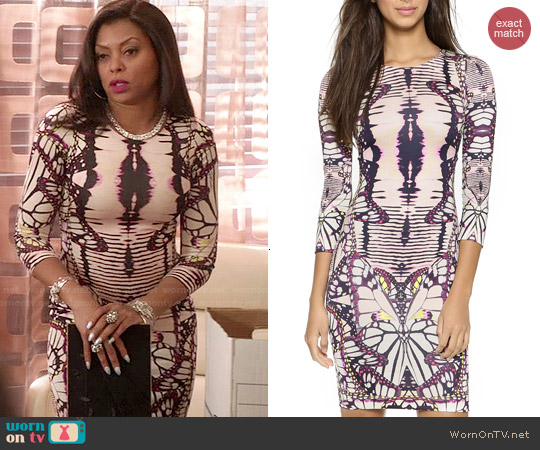 Just Cavalli Plum Butterfly Print Dress worn by Taraji P. Henson on Empire