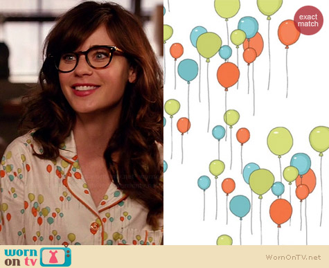 Just for Fun by Andover Balloon Fabric Pajamas worn by Zooey Deschanel on New Girl