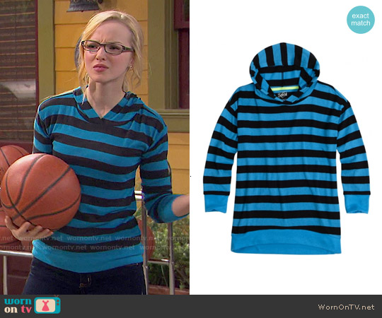 Justice Super Soft Striped Hooded Sweatshirt worn by Dove Cameron on Liv & Maddie