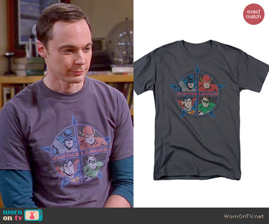 Justice League Four Heroes Men's Charcoal T-Shirt worn by Sheldon Cooper on The Big Bang Theory