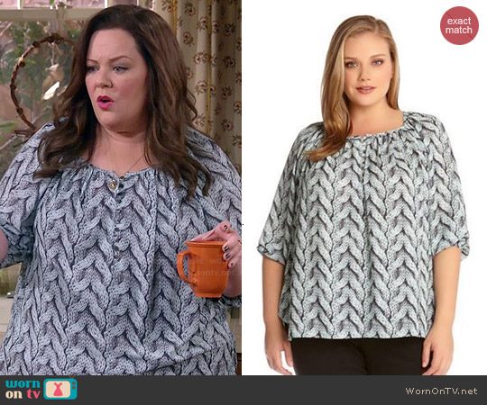 Karen Kane Cable Print Peasant Top worn by Melissa McCarthy on Mike & Molly