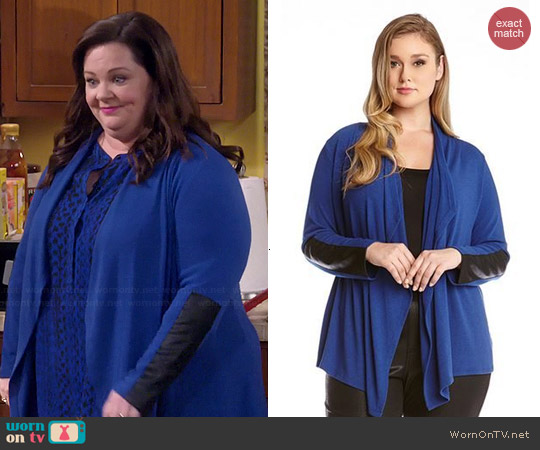 Karen Kane Faux Leather Cuff Cardigan worn by Melissa McCarthy on Mike & Molly