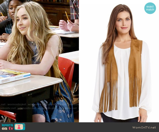 Karen Kane Faux Suede Fringe Vest worn by Maya Hart on Girl Meets World