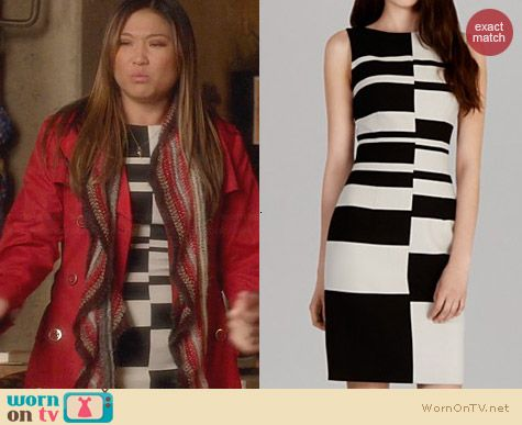Karen Millen Engineered Graphic Stripe Dress worn by Jenna Ushkowitz on Glee
