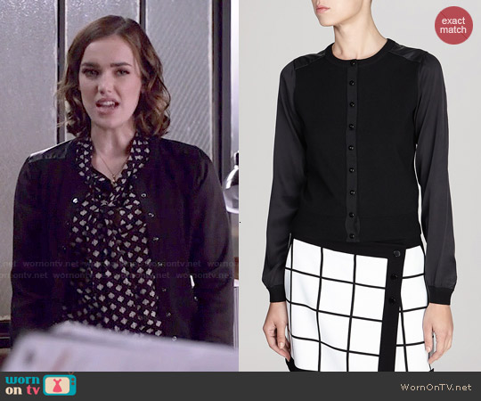 Karen Millen Fine Gauge Knit Collection with Silk Cardigan worn by Jemma Simmons on Agents of SHIELD