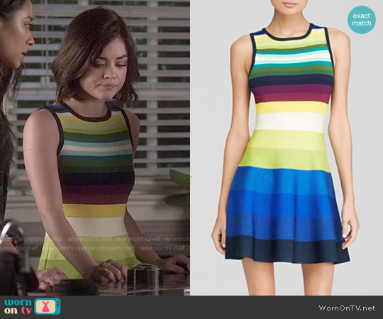 Karen Millen Rainbow Stripe Knit Dress worn by Lucy Hale on PLL
