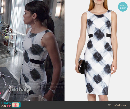 Karen Millen Art Print Stretch Dress worn by Tamara Taylor on Bones