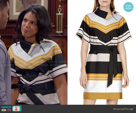 Karen Millen Belted Striped Dress worn by Karla Mosley on The Bold & the Beautiful