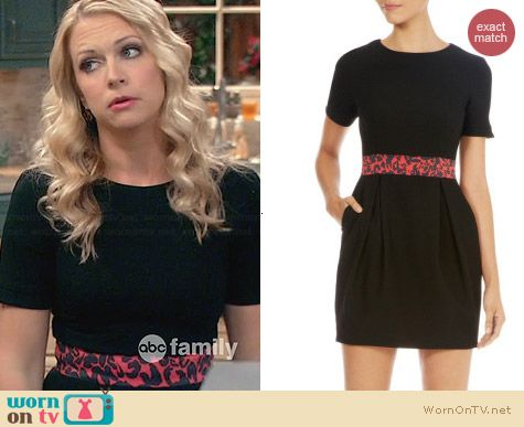 Karen Millen Bubble Dress with Leopard Print worn by Melissa Joan Hart on Melissa & Joey