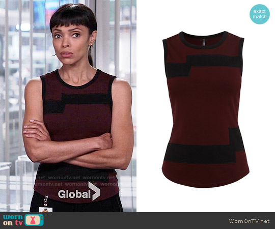 Karen Millen Block Print Fitted Vest worn by Tamara Taylor on Bones