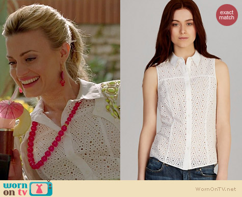 Karen Millen Broderie Shirt worn by Brooke D'Orsay on Royal Pains