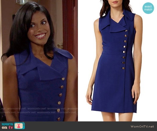 Karen Millen Button Detail Dress worn by Karla Mosley on The Bold & the Beautiful
