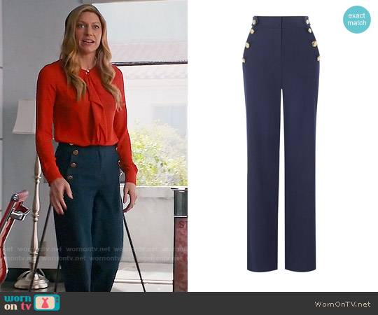 Karen Millen Button Detail Wide Leg Trousers worn by Jes Macallan on Mistresses