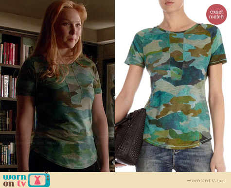 Karen Millen Camouflage Tshirt worn by Molly Quinn on Castle