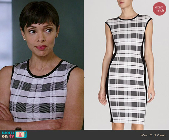 Karen Millen Check Bandage Knit Dress worn by Tamara Taylor on Bones