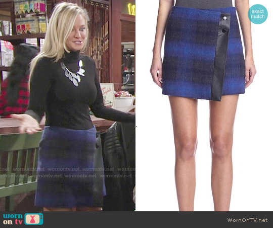 Karen Millen Check Skirt with Faux Leather Trim worn by Sharon Case on The Young & the Restless