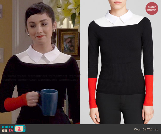Karen Millen Collared Color Block Sweater worn by Molly Ephraim on Last Man Standing