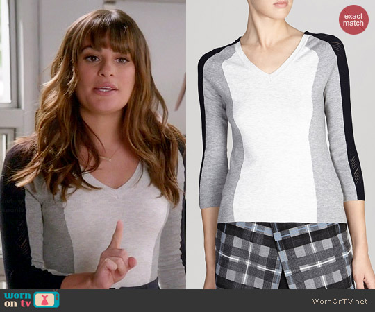 Karen Millen Mesh Colorblock Sweater worn by Lea Michele on Glee
