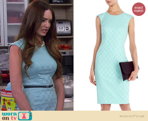 Karen Millen Cotton Jacquard Shift Dress worn by Mallory Jansen on Young and Hungry