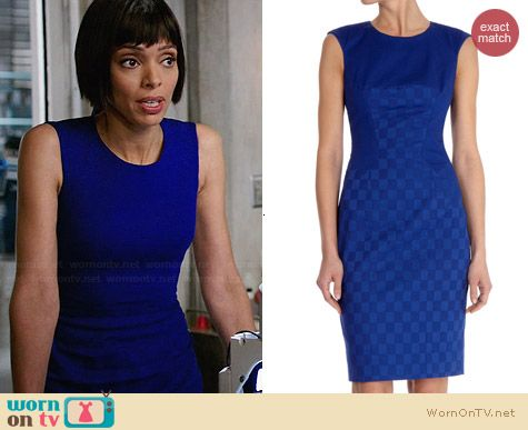 Karen Millen Cotton Jacquard Shift Dress in Blue worn by Tamara Taylor on Bones