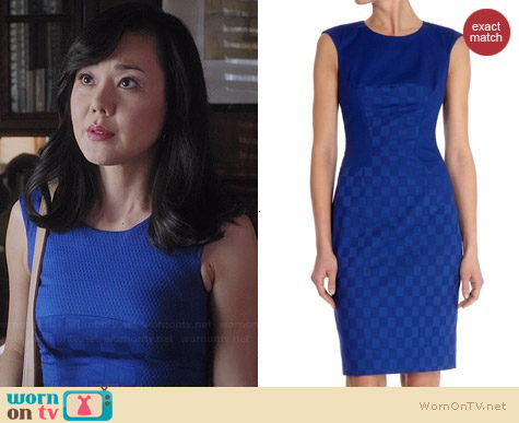 Karen Millen Cotton Jacquard Shift Dress worn by Yunjin Kim on Mistresses