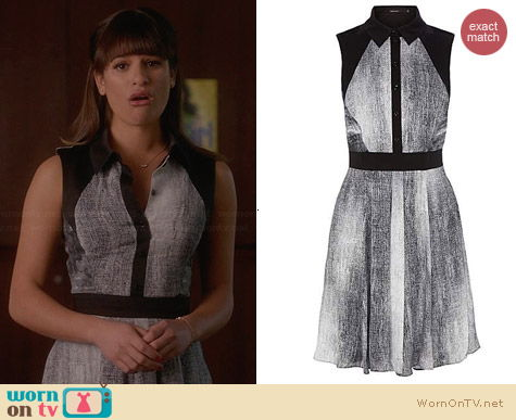 Karen Millen Denim Print Shirt Dress worn by Lea Michele on Glee