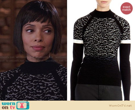Karen Millen Dip Dye Leopard Knit Sweater worn by Tamara Taylor on Bones
