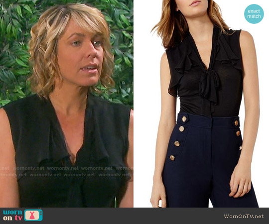 Karen Millen Tie Neck Draped Top worn by Arianne Zucker on Days of our Lives