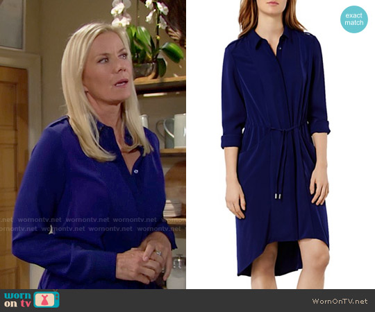 Karen Millen Drawstring Shirt Dress worn by Katherine Kelly Lang on The Bold & the Beautiful
